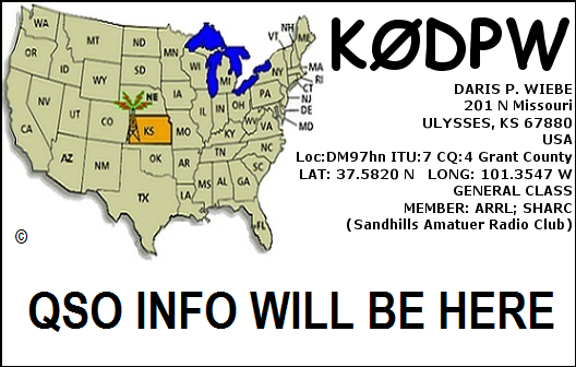 K0DPW default QSL card